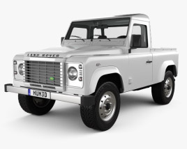 3D model of Land Rover Defender 90 pickup 2011