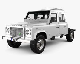 3D model of Land Rover Defender 130 Double Cab Chassis 2011
