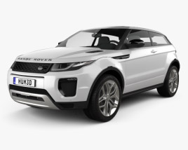 3D model of Land Rover Range Rover Evoque 3-door 2015