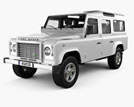 3D model of Land Rover Defender 110 Station Wagon with HQ interior 2011