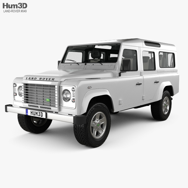 Land Rover Defender 110 Station Wagon with HQ interior 2011 3D model