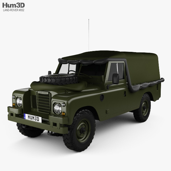 3D model of Land Rover Series III LWB Military FFR with HQ interior 1985