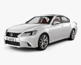 3D model of Lexus GS F Sport hybrid (L10) with HQ interior 2012