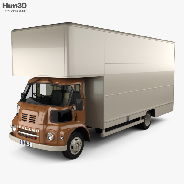 3D model of Leyland FG Box Truck with HQ interior 1968