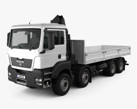 3D model of MAN TGS Flatbed Crane Truck 2012