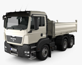 3D model of MAN TGS M Day Cab Meiller-Kipper D316 Tipper Truck 3-axle 2012