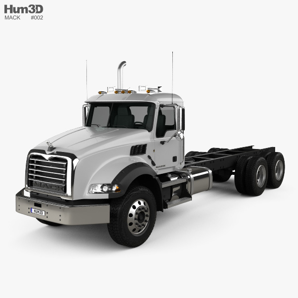 3D model of Mack Granite Chassis Truck 2002