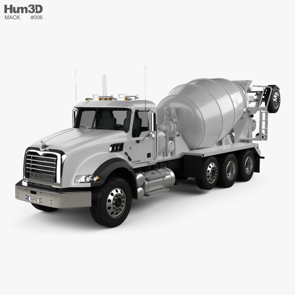 3D model of Mack Granite Mixer Truck 2002