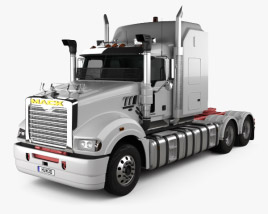 3D model of Mack Super-Liner High Rise Sleeper Cab Tractor Truck 2007
