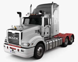 3D model of Mack Trident Axle Back High Rise Sleeper Cab Tractor Truck 2008