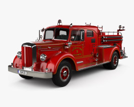 3D model of Mack Type 85 Fire Truck 1950
