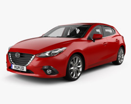 3D model of Mazda 3 hatchback with HQ interior 2014