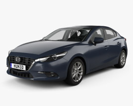3D model of Mazda 3 (BM) sedan with HQ interior 2017