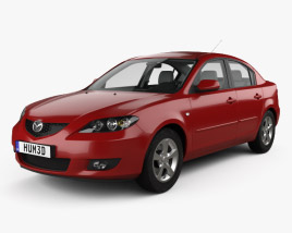 3D model of Mazda 3 sedan with HQ interior 2003