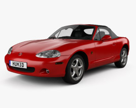 3D model of Mazda MX-5 convertible with HQ interior 1998