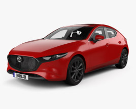 3D model of Mazda 3 hatchback with HQ interior and engine 2019