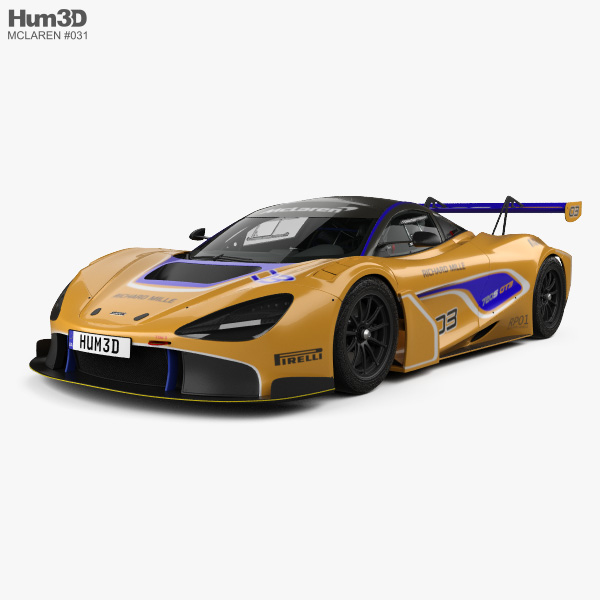 McLaren 720S GT3 with HQ interior 2019 3D model