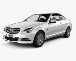 3D model of Mercedes-Benz C-class coupe 2012