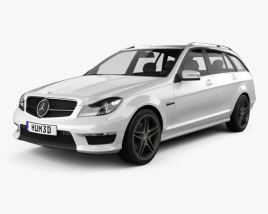 3D model of Mercedes-Benz C-Class 63 AMG estate 2012