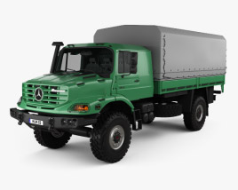 3D model of Mercedes-Benz Zetros Flatbed Truck 2-axle 2008