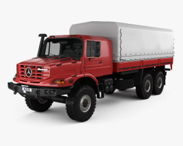 Mercedes-Benz Zetros Flatbed Truck 3-axle 2008 3D model
