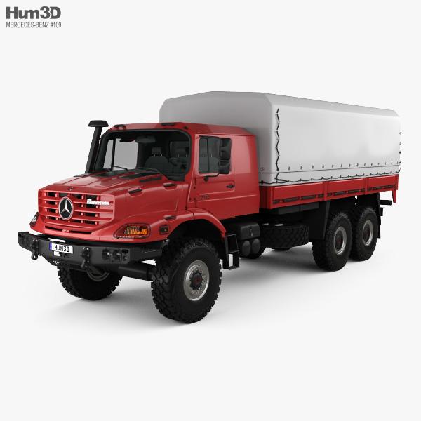 Mercedes-Benz Zetros Flatbed Truck 3-axle 2008 3D model