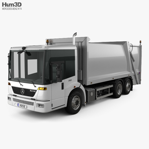 3D model of Mercedes-Benz Econic Garbage Truck Rolloffcon 3axle 2009