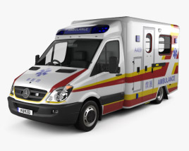 3D model of Mercedes-Benz Sprinter (W906) Ambulance 2011