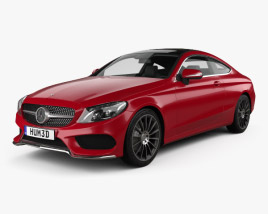 3D model of Mercedes-Benz C-Class AMG Line Coupe 2015