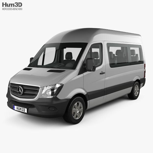Mercedes-Benz Sprinter Passenger Van SWB HR with HQ interior 2013 3D model
