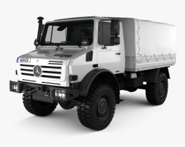 3D model of Mercedes-Benz Unimog U4000 Flatbed Canopy Truck 2000