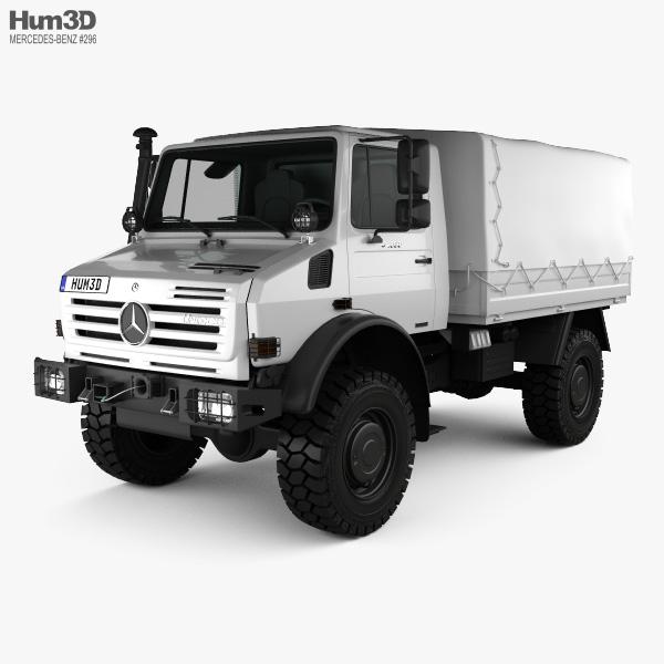 3D model of Mercedes-Benz Unimog U4000 Flatbed Canopy Truck 2000