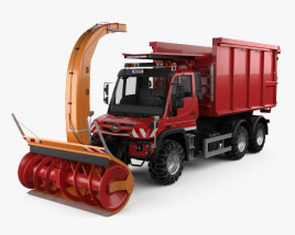3D model of Mercedes-Benz Unimog U530 Paul Snow Plow Truck 2016