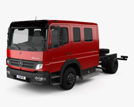 3D model of Mercedes-Benz Atego Crew Cab Chassis Truck 2004