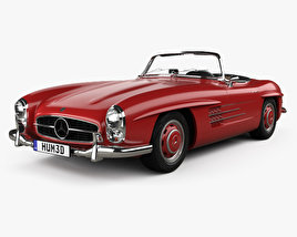 3D model of Mercedes-Benz 300 SL with HQ interior 1957