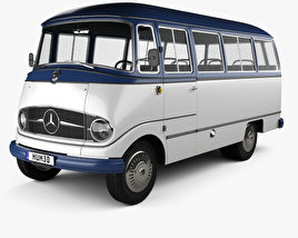 3D model of Mercedes-Benz O-319 Minibus 1955