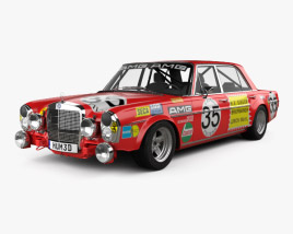 3D model of Mercedes-Benz 300 SEL AMG Red Pig 1969