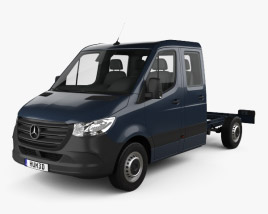 3D model of Mercedes-Benz Sprinter (W907) Crew Cab Chassis L2 2019