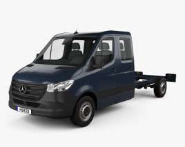 3D model of Mercedes-Benz Sprinter (W907) Crew Cab Chassis L3 2019