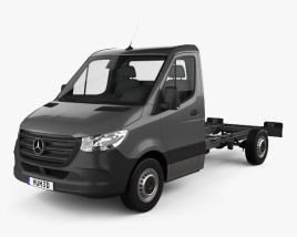 3D model of Mercedes-Benz Sprinter (W907) Single Cab Chassis L2 2019