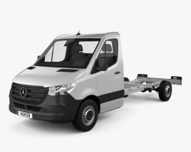 3D model of Mercedes-Benz Sprinter (W907) Single Cab Chassis L3 2019