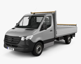 3D model of Mercedes-Benz Sprinter (W907) Single Cab Dropside L2 2019