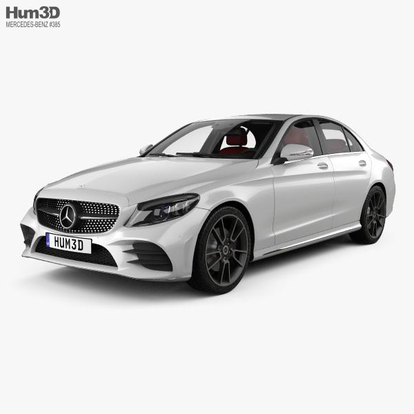 Mercedes-Benz C-class AMG-line sedan with HQ interior 2018 3D model