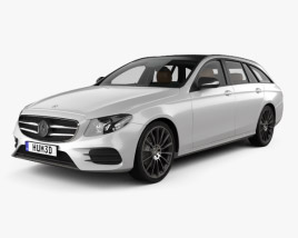 3D model of Mercedes-Benz E-class AMG-Line estate with HQ interior 2016