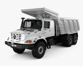 3D model of Mercedes-Benz Zetros Meiller Hinterkipper M325 Dump Truck 2019