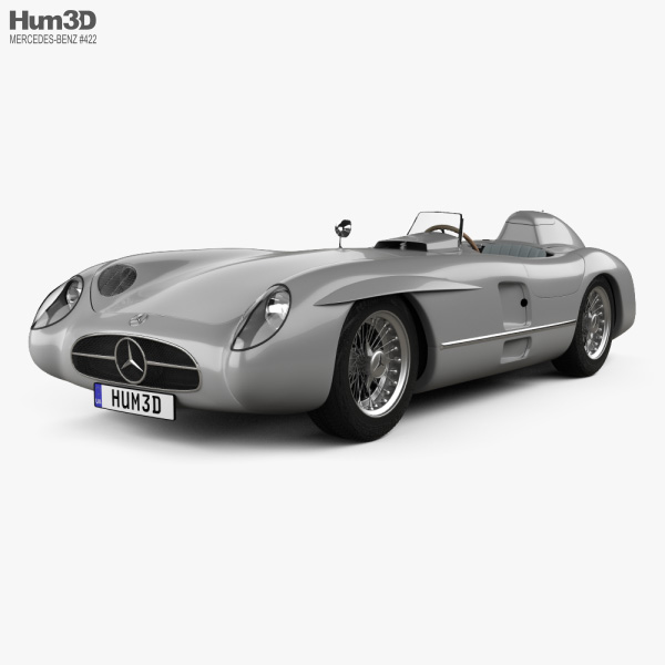 Mercedes-Benz 300 SLR with HQ interior and Engine 1955 3D model