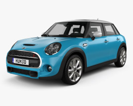 3D model of Mini Cooper S 5-door 2014