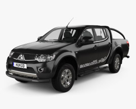 3D model of Mitsubishi L200 Triton Barbarian Black 2012