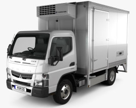 3D model of Mitsubishi Fuso Canter City Cab Refrigerator Truck 2016