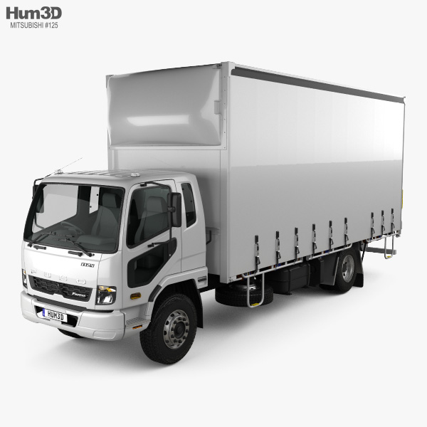 Mitsubishi Fuso Fighter Curtainsider 10 Pallet Truck 2017 3D model